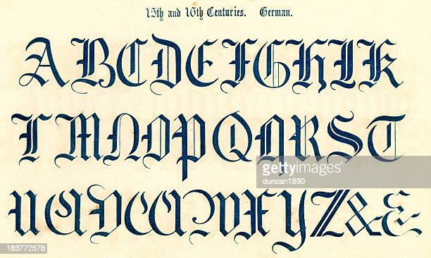 15th and 16th century style alphabet - letter d stock illustrations, clip art, cartoons, & icons