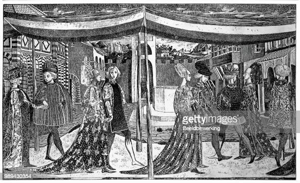 15th century florence marriage procession engraving from 1895 - circa 15th century stock illustrations, clip art, cartoons, & icons