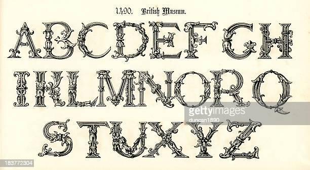 15th century style alphabet - gothic style stock illustrations, clip art, cartoons, & icons