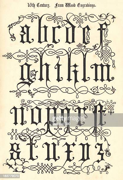 15th century style alphabet - circa 15th century stock illustrations, clip art, cartoons, & icons