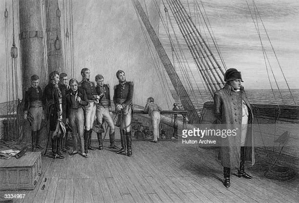 Napoleon I , Emperor of the French in exile on board the Bellerophon, where he surrendered to the captain. Original Artwork: Engraved by J C Armytage...