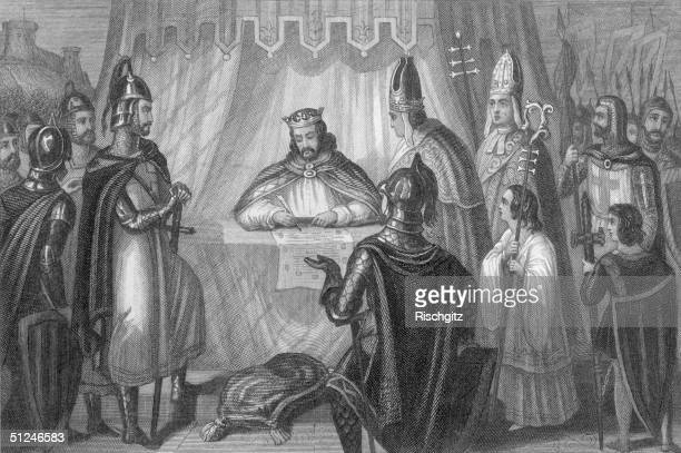 15th June 1215 King John of England signs the Magna Carta at Runnymede near Windsor Prelates and soldiers witness the signing Original Artwork...