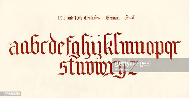 15th-16th century german lower case letters - circa 15th century stock illustrations, clip art, cartoons, & icons