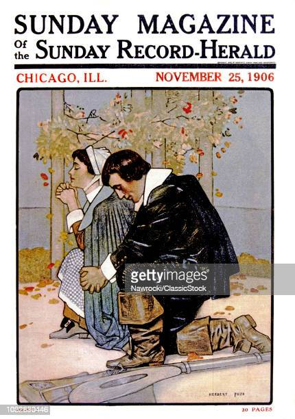 1600s PILGRIM COUPLE KNEELING IN PRAYER 1906 MAGAZINE ILLUSTRATION