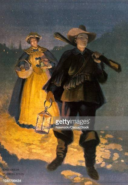 1600s THE WALK HOME FOR PILGRIM SETTLERS MAN WITH LANTERN MUSKET WOMAN BASKET GIFTS KIND DEEDS IN CRUEL DAYS
