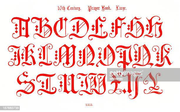 16th century alphabet from prayer book - 16th century style stock illustrations