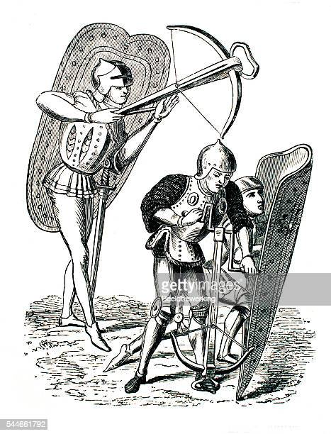 16th century archers with crossbows and metal shields