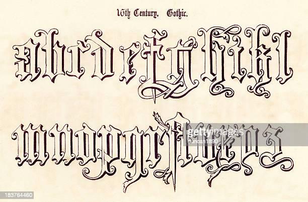 16th century gothic style alphabet - pejft 幅插畫檔、美工圖案、卡通及圖標