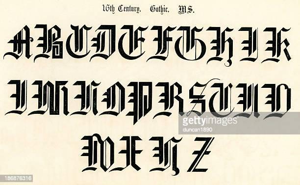 stockillustraties, clipart, cartoons en iconen met 16th century gothic style alphabet - hoofdletter