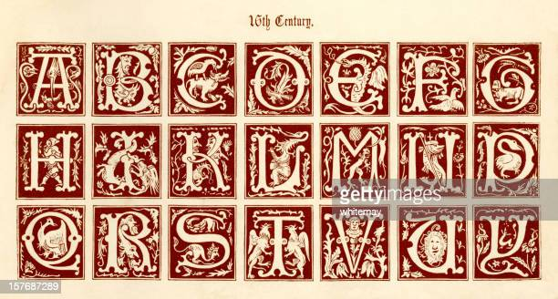 16th century ornamental initials with birds and animals - gothic style stock illustrations, clip art, cartoons, & icons