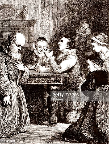 16th century prayers (victorian illustration) - 16th century style stock illustrations
