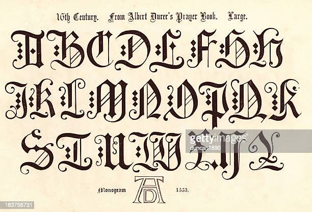 16th century style alphabet - 16th century style stock illustrations