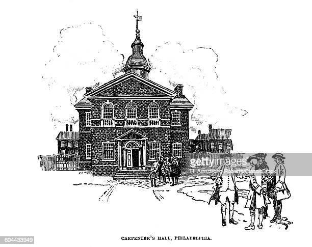 1700s 1770s ENGRAVING OF CARPENTERS HALL PHILADELPHIA PENNSYLVANIA IN 1790