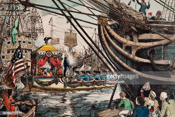 1700s 1780s GEORGE WASHINGTON STANDING IN BARGE CROSSING HUDSON RIVER ARRIVING NEW YORK CITY APRIL 1789 INAUGURATION