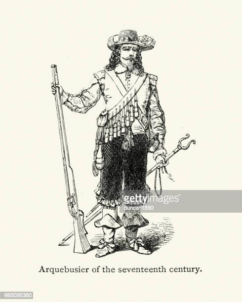 17th century arquebusier, solider - musketeer stock illustrations, clip art, cartoons, & icons