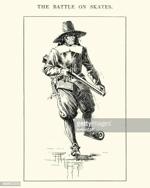 17th century dutch soldier using ice skates - ice skating stock illustrations, clip art, cartoons, & icons