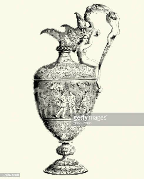 17th century ewer in silver - vase stock illustrations, clip art, cartoons, & icons