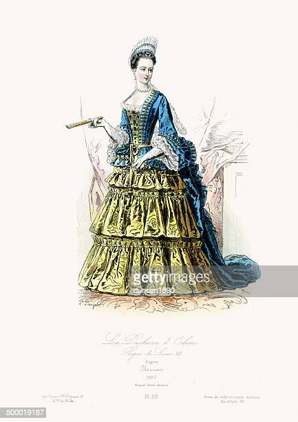 17th century fashion - duchess of orleans - en búsqueda stock illustrations