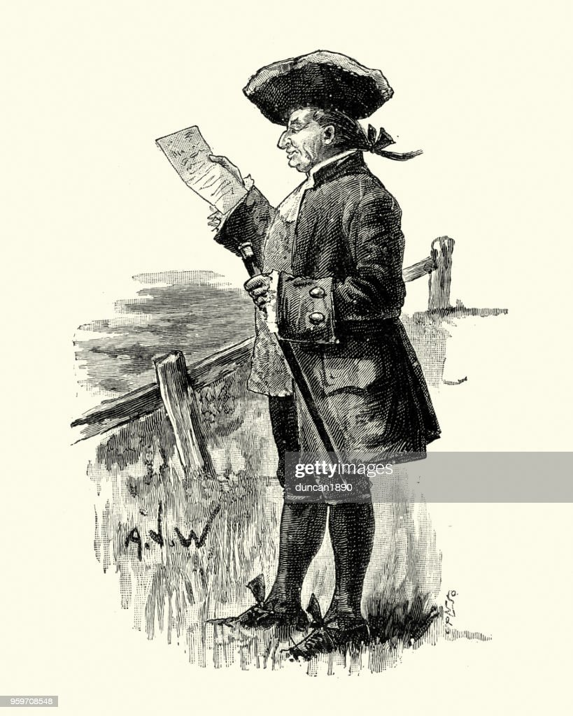 17. Jahrhundert Gentleman einen Brief lesend : Stock-Illustration