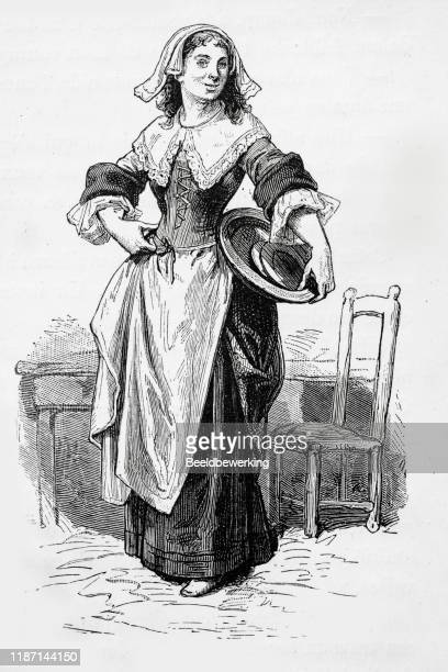17th century maid with plates - en búsqueda stock illustrations