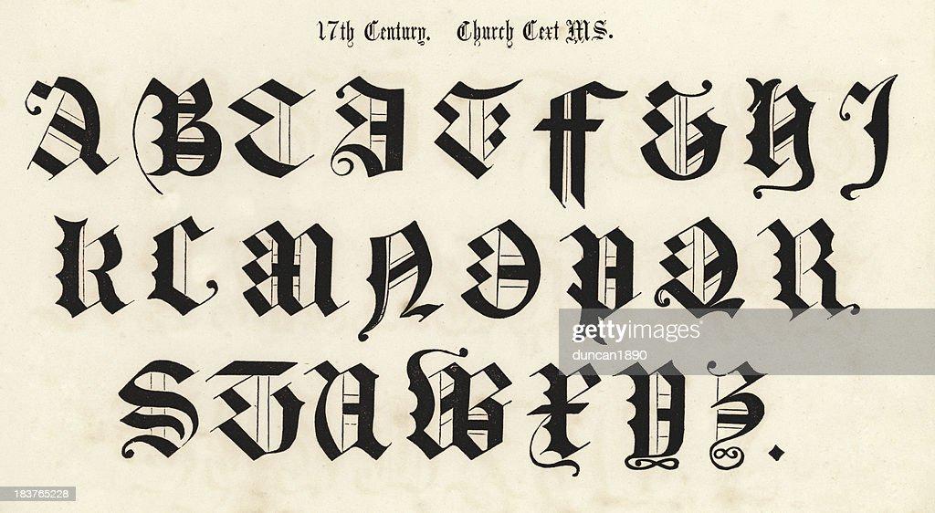 Alphabet Style 17th century script style alphabet stock illustration | getty images
