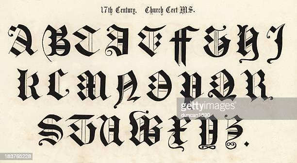 17th century script style alphabet - pejft 幅插畫檔、美工圖案、卡通及圖標