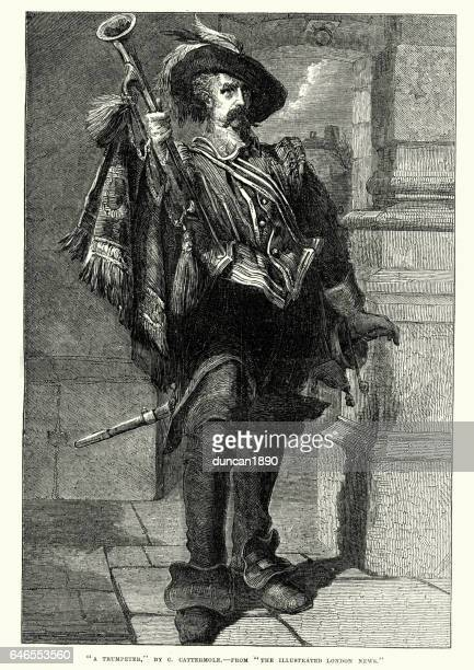 17th century style trumpeter - musketeer stock illustrations, clip art, cartoons, & icons