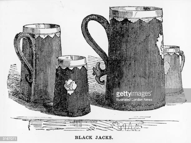 One quart one pint and two halfpint beer mugs or Black Jacks bearing the family crest of the Chamois They are made of leather lined with pewter and...