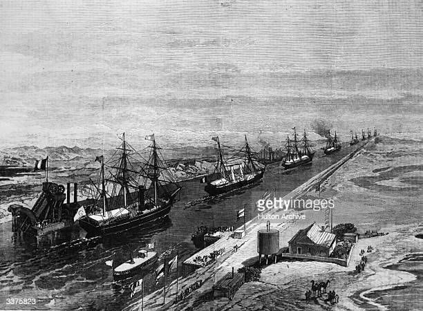 Ships in the Suez Canal at its opening.