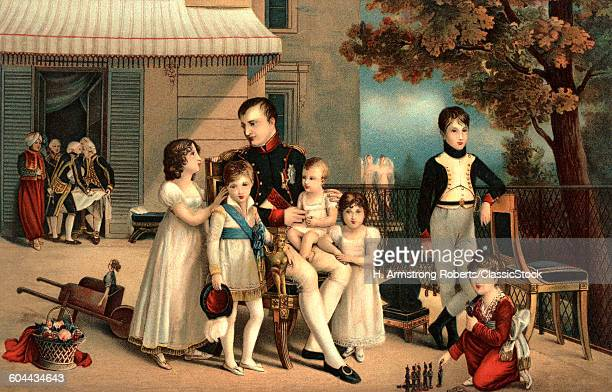 1800s 1810 PORTRAIT OF NAPOLEON I AND HIS NIECES AND NEPHEWS ON TERRACE AT SAINT-CLOUD BY LOUIS DUCIS