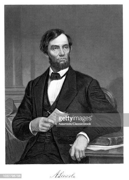 1800s 1860s 1865 PORTRAIT PRESIDENT ABE ABRAHAM LINCOLN 16TH PRESIDENT OF UNITED STATES