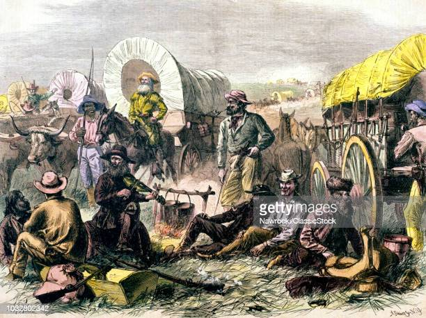 1800s 1860s 1870s PILGRIMS OF THE PLAINS WAGON TRAIN CAMPED FOR THE NIGHT MEN PIONEERS AROUND CAMPFIRE