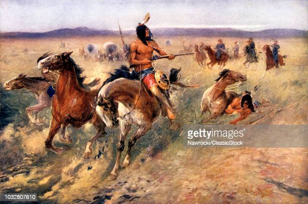 1800s 1860s 1870s PLAINS INDIANS BEING PURSUED BY US CAVALRY PAINTING BY SCHWABE