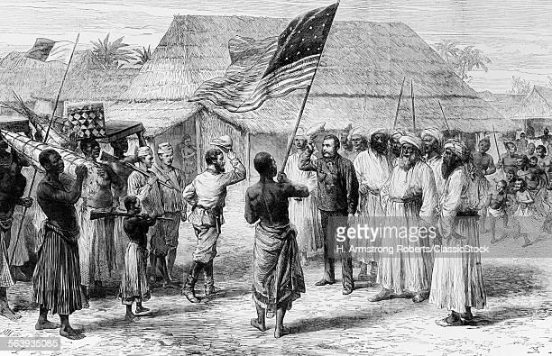1800s 1870s DR LIVINGSTON HENRY STANLEY MEET AT LAKE TANGANYIKA AFRICA 1871