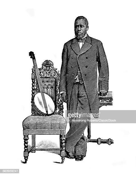 1800s 1870s HORACE WESTON VIRTUOSO AFRICAN AMERICAN BANJO PLAYER MINSTREL PERFORMER STANDING BESIDE CHAIR AND BANJO