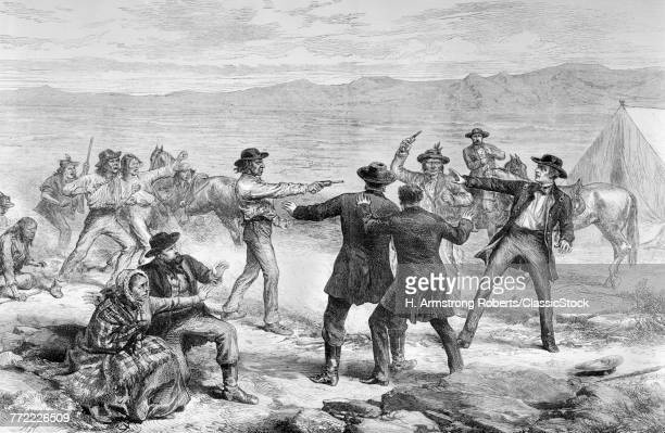 1800s 1873 ENGRAVING OF THE MURDER OF GENERAL CANBY BY THE MODOC INDIANS DURING THEIR REBELLION TULE LAKE CALIFORNIA USA