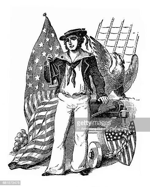 1800s 19TH CENTURY ENGRAVING OF OLD TIME SAILOR HOLDING SEXTANT NEXT TO EAGLE AMERICAN FLAG TYPICAL WAR OF 1812 UNIFORM