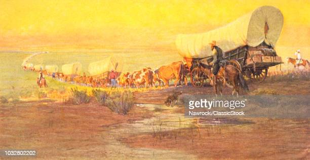 1800s AMERICAN WESTERN FRONTIER WITH WAGON TRAIN GOING WESTWARD ONTO THE GREAT PLAINS