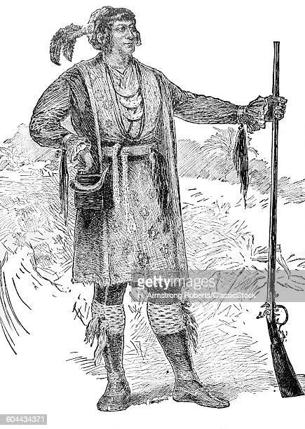 1800s ENGRAVING OF NATIVE AMERICAN INDIAN CHIEF OSCEOLA OF THE SEMINOLE STANDING PORTRAIT HOLDING FLINTLOCK SMOOTHBORE MUSKET