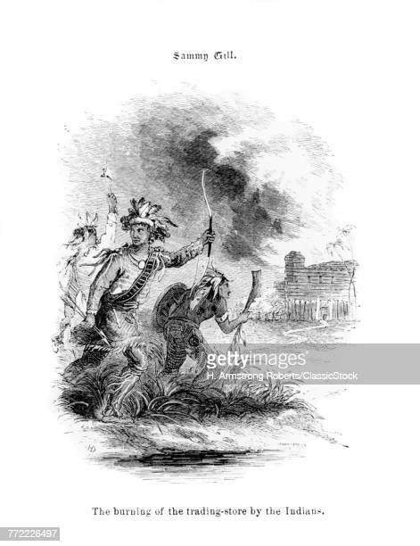 1840s BURNING OF FORT ROBIDOUX TRADING STORE THREE NATIVE AMERICAN INDIANS ATTACK VILLAGE TRADING POST SAMUEL GILL ILLUSTRATION