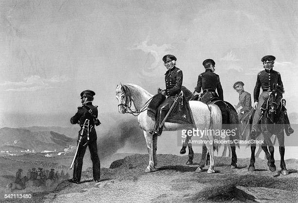 1840s GENERAL ZACHARY TAYLOR ON HORSE OVERLOOKING BATTLEFIELD BATTLE OF MONTERREY MEXICAN-AMERICAN WAR SEPTEMBER 1846