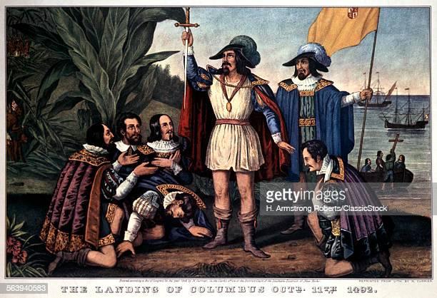 1840s LANDING OF CHRISTOPHER COLUMBUS 1492 CURRIER IVES PRINT 1846