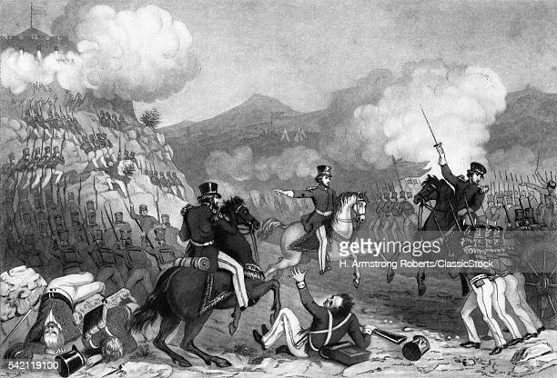 1840s SEPTEMBER 1847 AMERICAN TROOPS STORMING PALACE HILL AT THE BATTLE OF CHAPULTEPEC MEXICAN AMERICAN WAR