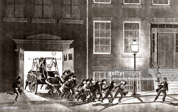 1850s 1854 CURRIER & IVES NIGHT ALARM ENGRAVING OF LIFE OF FIREMEN PULLING HAND PUMP FIRE ENGINE OUT OF STATION