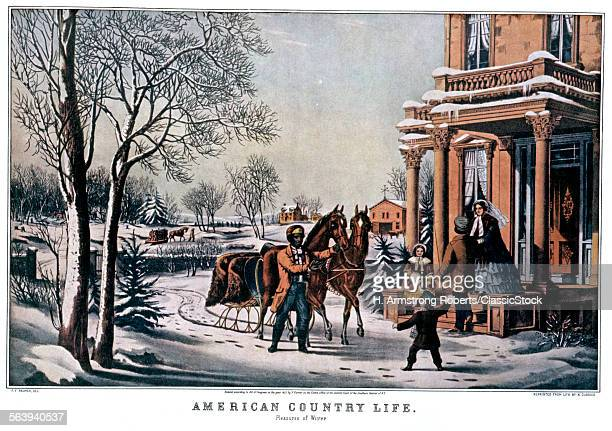 1850s AMERICAN COUNTRY LIFE PLEASURES OF WINTER CURRIER IVES PRINT 1855