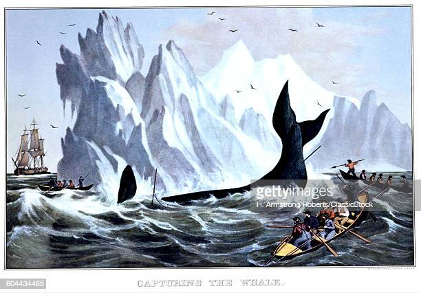 1850s CAPTURING THE WHALE CURRIER IVES LITHOGRAPH 1850
