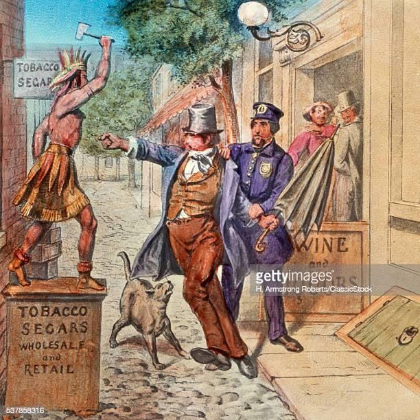 1860s 1870s TEMPERANCE MOVEMENT LANTERN SLIDE THE DRUNKARD'S CAREER SCENE 5 RUM INSTEAD OF REASON