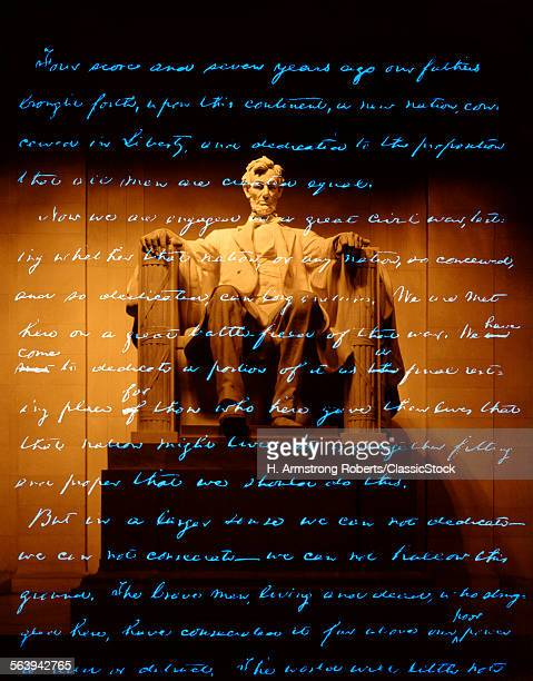 1860s ABRAHAM LINCOLN STATUE WITH GETTYSBURG ADDRESS OVERLAY
