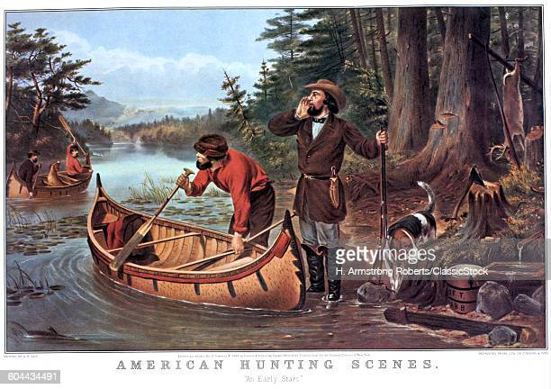 1860s AMERICAN HUNTING SCENES EARLY START CURRIER IVES LITHOGRAPH 1863