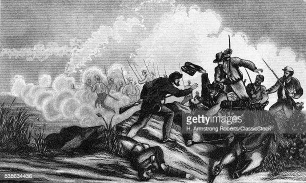 1860s AUGUST 1861 BATTLE OF WILSON'S CREEK AND THE DEATH OF GENERAL LYON NEAR SPRINGFIELD MISSOURI USA